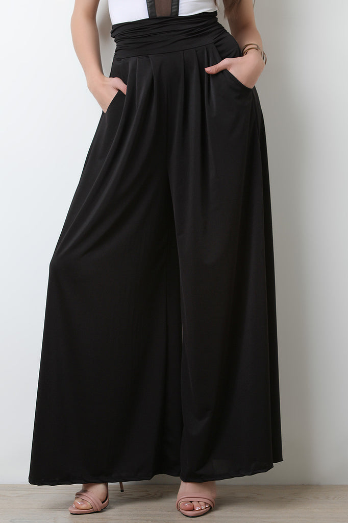 Stretchy High Waisted Wide Flare Pants - BLK+BLU