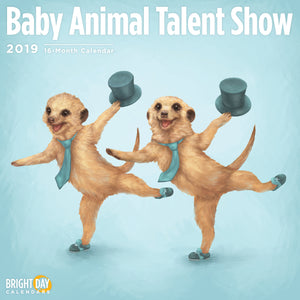 Cute tap-dancing meerkats on the cover of a 2019 calendar