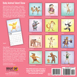 Back cover of a 2019 Baby Animals Talent Show wall calendar