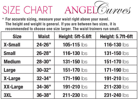 Angel Curves Size Chart
