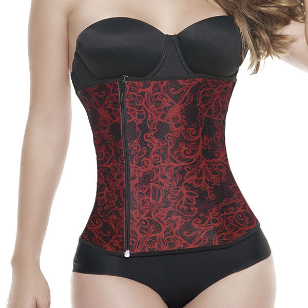 Red Lace Zip and Clip Waist Trainer