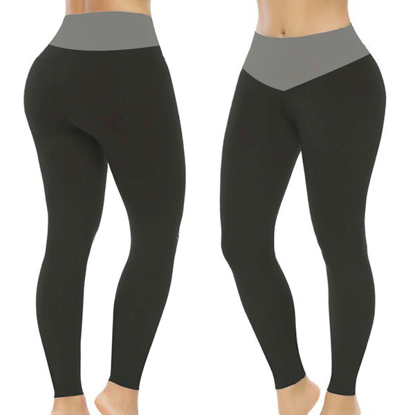Waist Control Leggings- Black and Gray