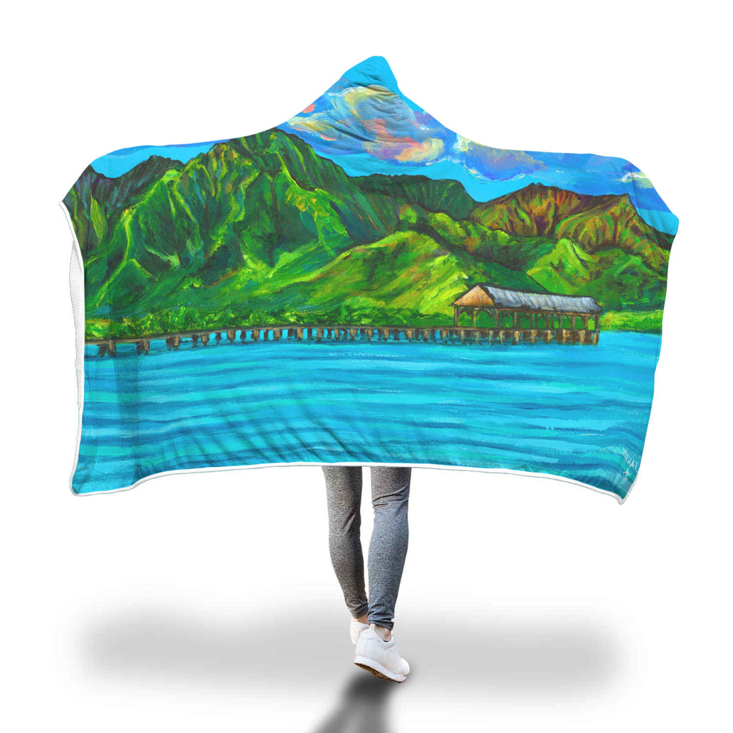 Hanalei Pier - Hooded Blanket