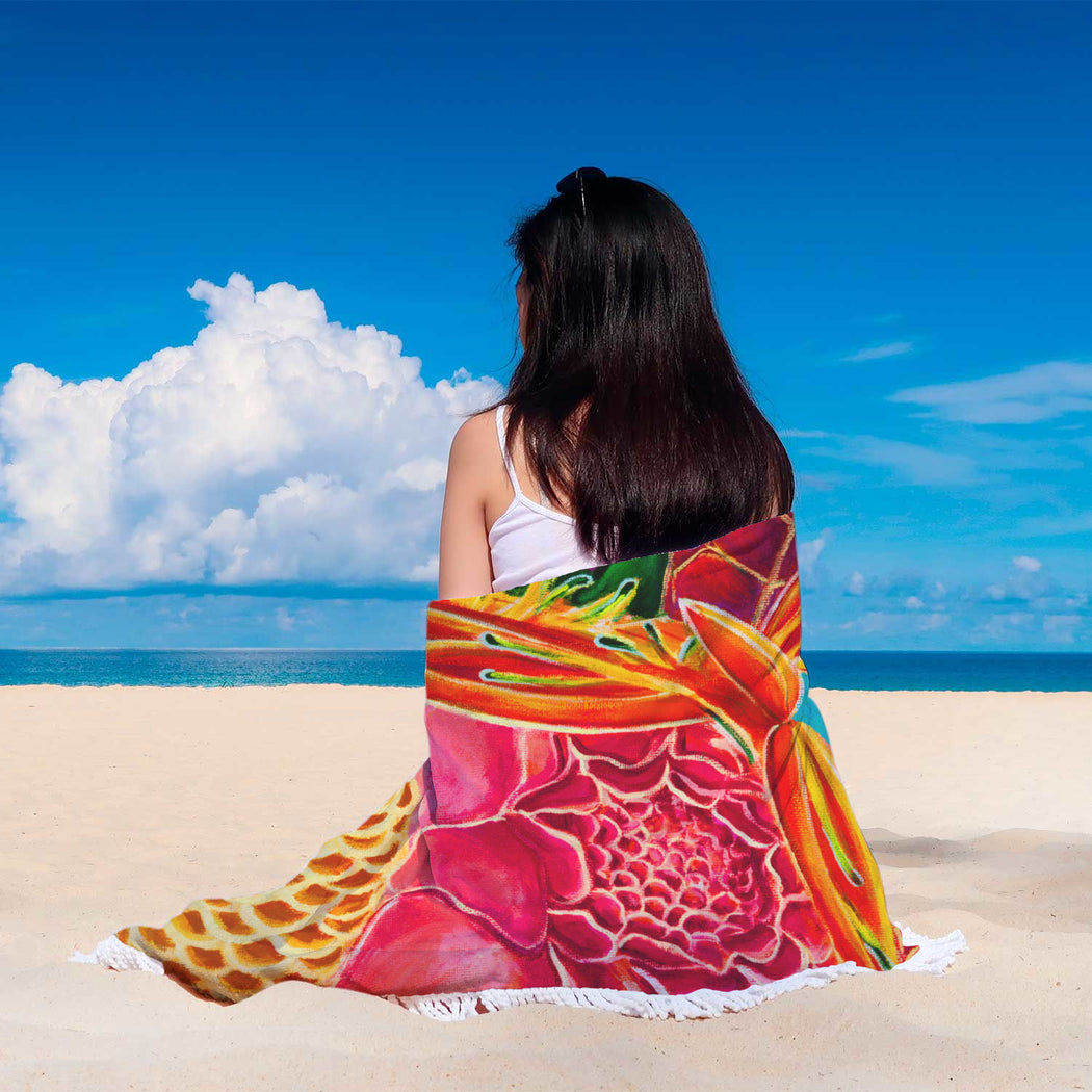 Hawaiian Love - Round beach blanket