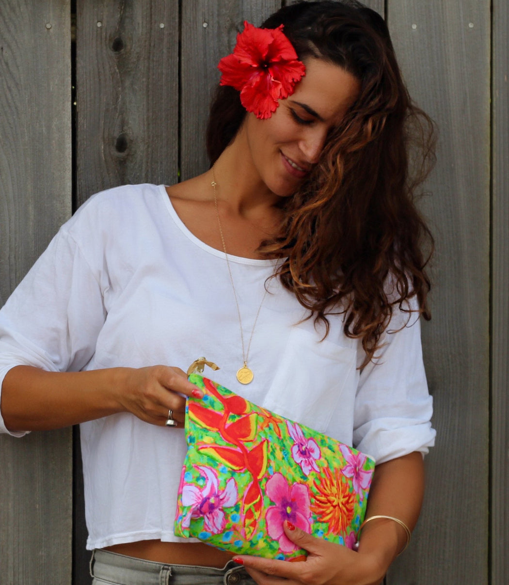 Tropical Flowers Clutch - New