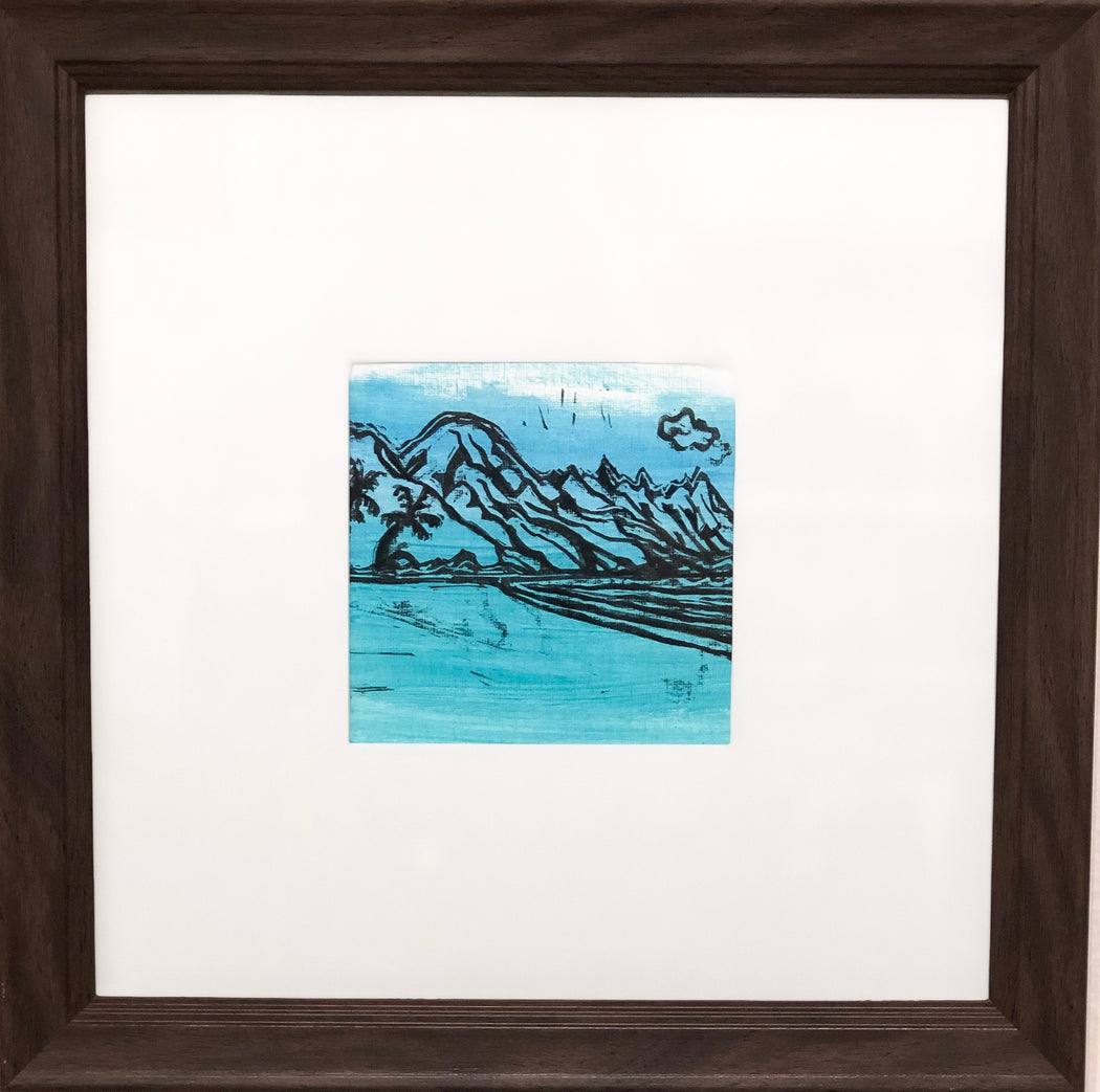 Tunnels Beach - Lino Cut - MICHAL ART STUDIO HAWAII - originals