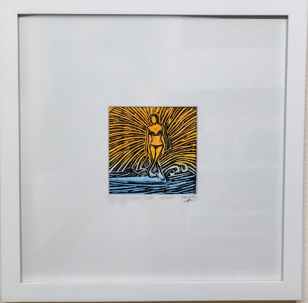 Surf in the light - Lino Cut