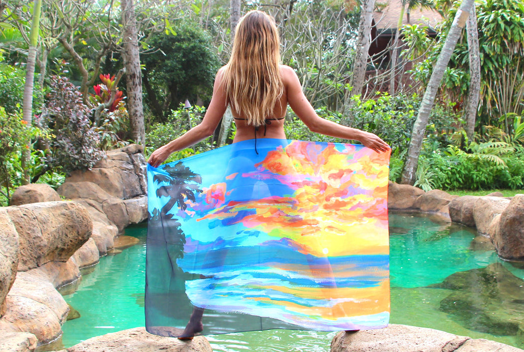 Tropical Sunset - Beach Pareo, made in Hawaii