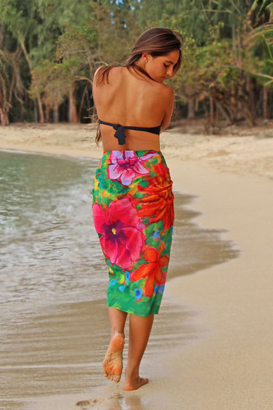 Tropical Flowers - Beach Pareo