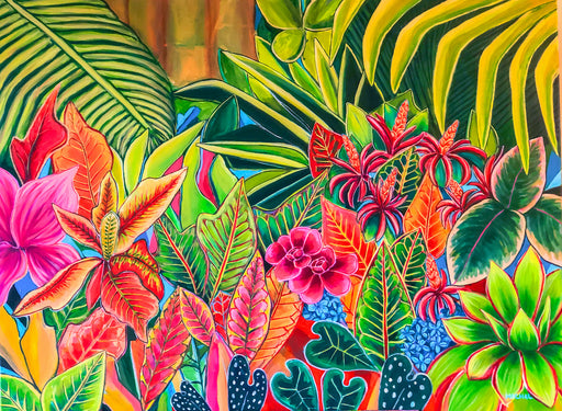 """ Dreamy Jungle "" -The Newest Original Hawaiian Tropical Floral Painting - MICHAL ART STUDIO HAWAII"