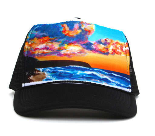 Hawaiian Sunset - Trucker Hat, made in Hawaii, art by Michal