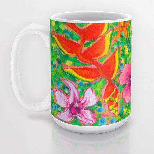 Tropical Flowers - 15oz Ceramic Mug