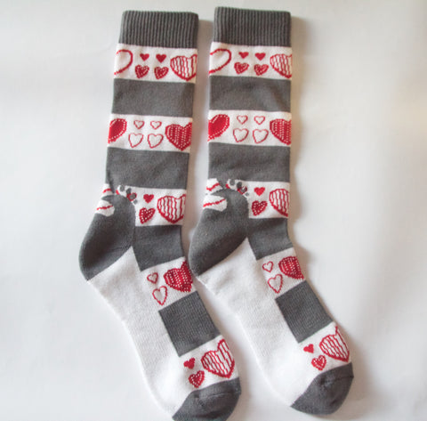 Hearts+Grey Stripes Sox