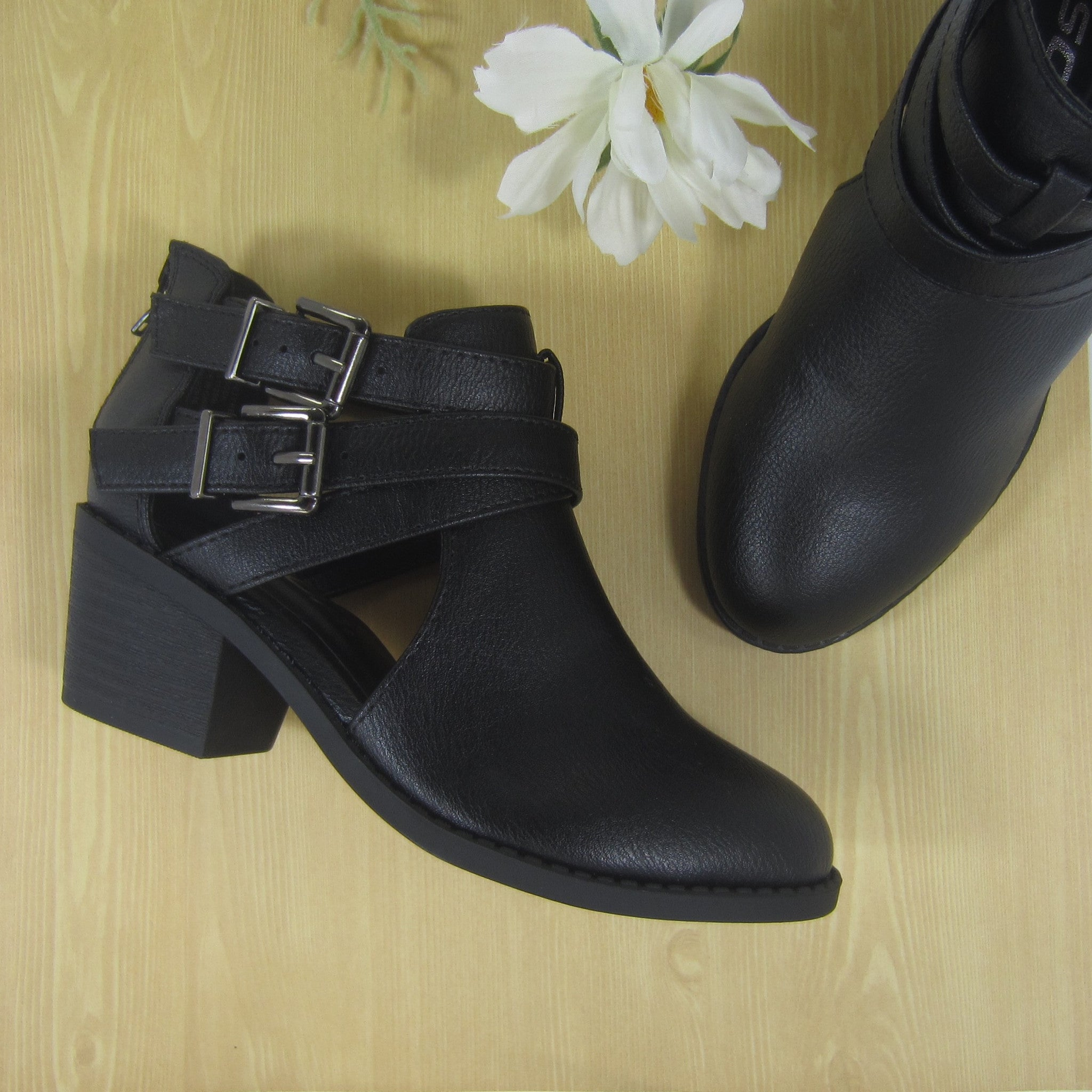 Girls Black Criss Cross Ankle Boots
