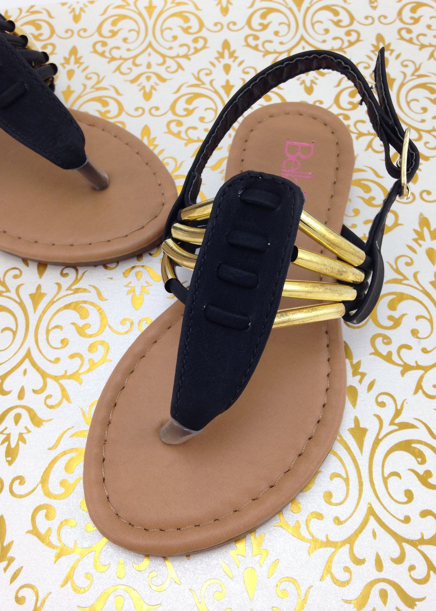 517aecaa5720f Girls Gold Accented Black Sandals ...