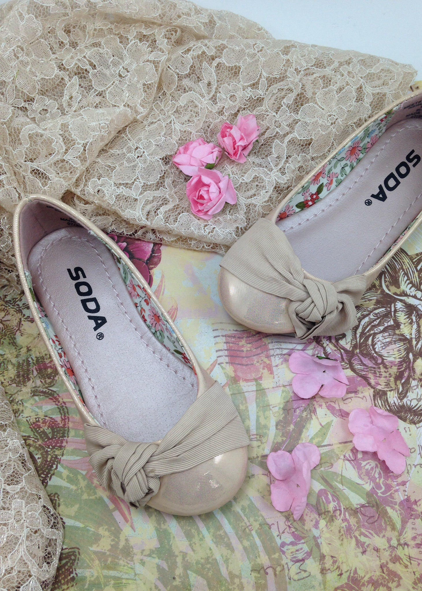 Girls Champagne Flats with Bow