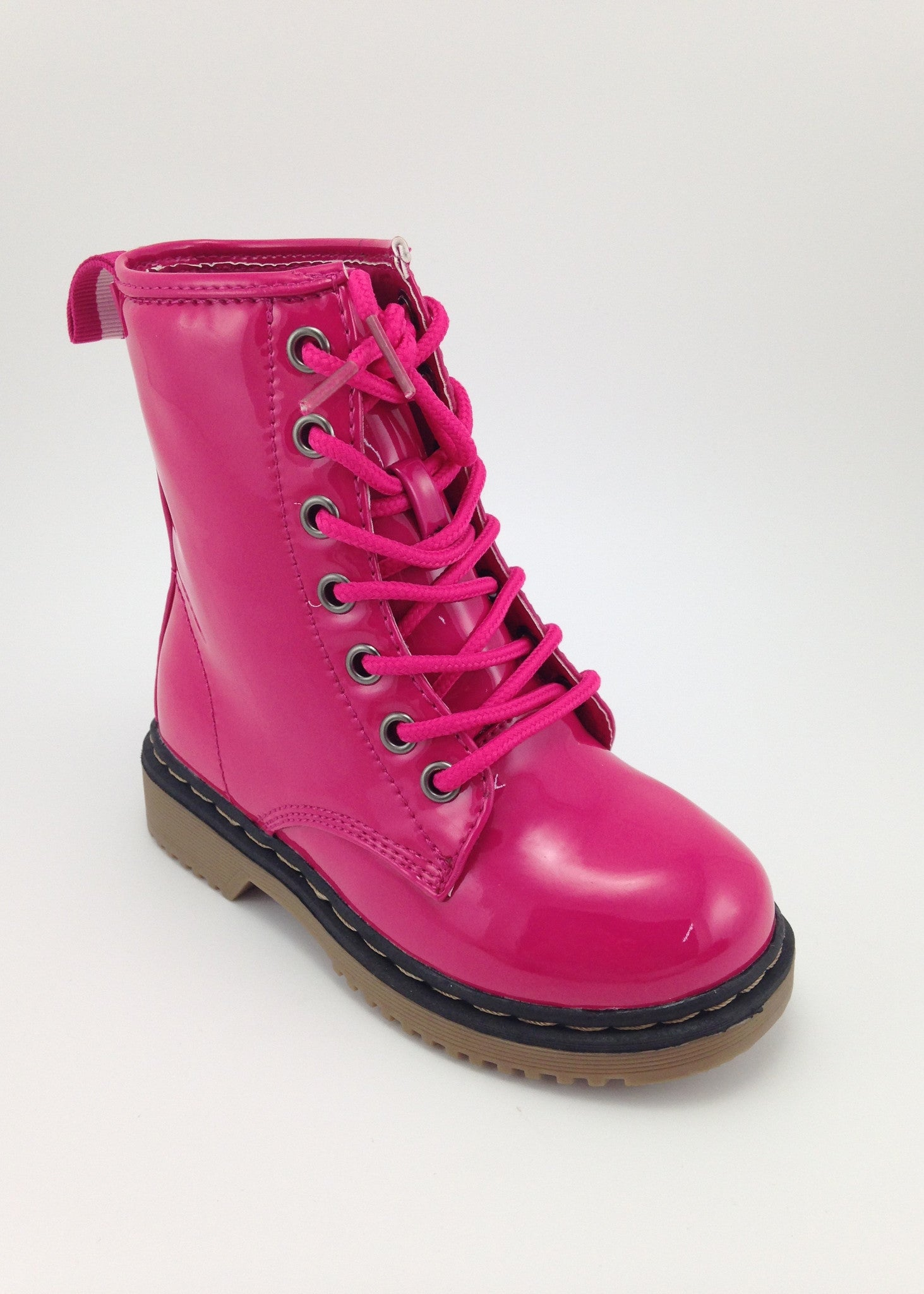 Girls Pink Patent Lace Up Boots | Boots