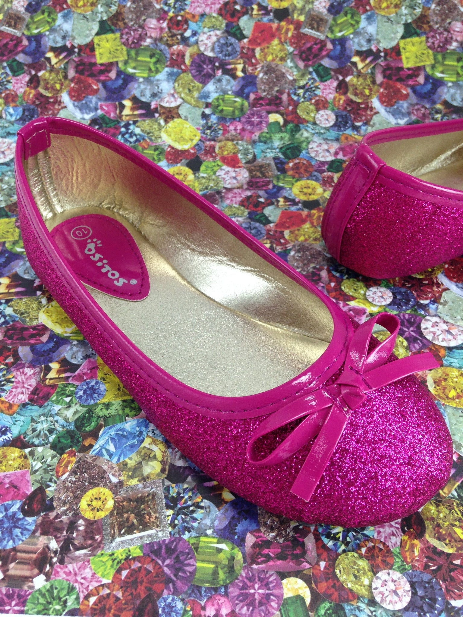 Girls Pink Sparkle Flats   Shoes for