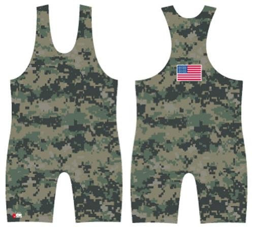 Digital Camo - Green Wrestling Singlet