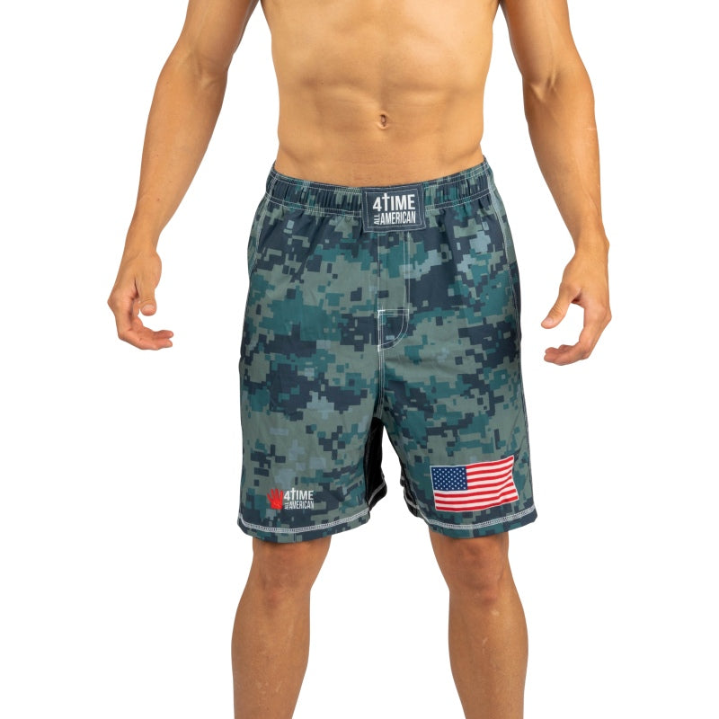 Digital Green Camo Wrestling Shorts, CrossFit, MMA, Wrestling, Kickboxing, Boxing Shorts