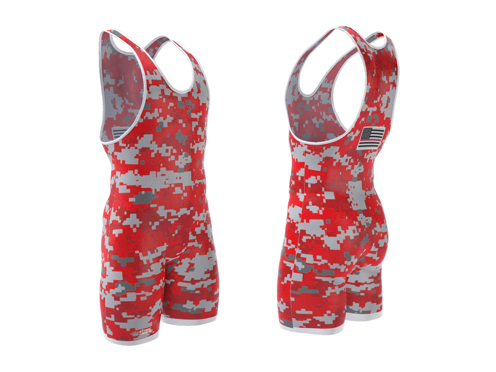 Digital Camo - Red Wrestling Singlet