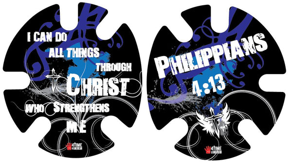 Philippians 4:13 Blue: Wrestling Headgear Decals, Wraps by 4Time All American