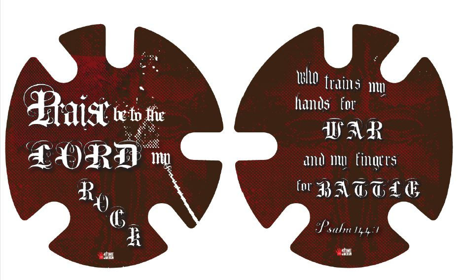 Psalm 144:1 Red:  Wrestling Headgear Decals, Wraps by 4Time All American