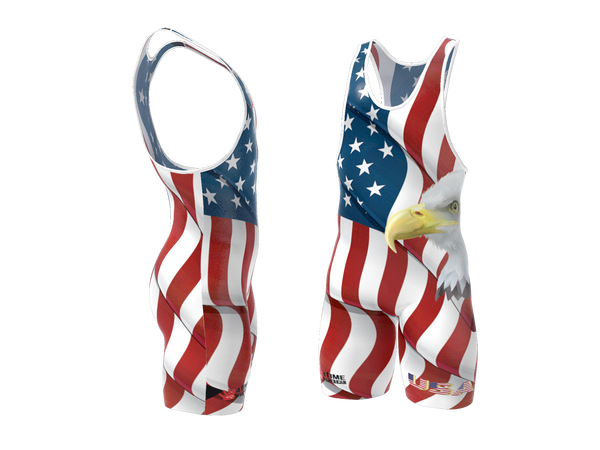 USA White Wrestling Singlet