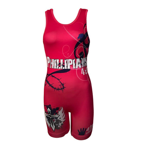 Philippians 4:13 Ladies Pink Sublimated Wrestling Singlet
