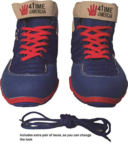 The Patriot, blue wrestling shoes, by 4 Time All American sizes 1-9.5