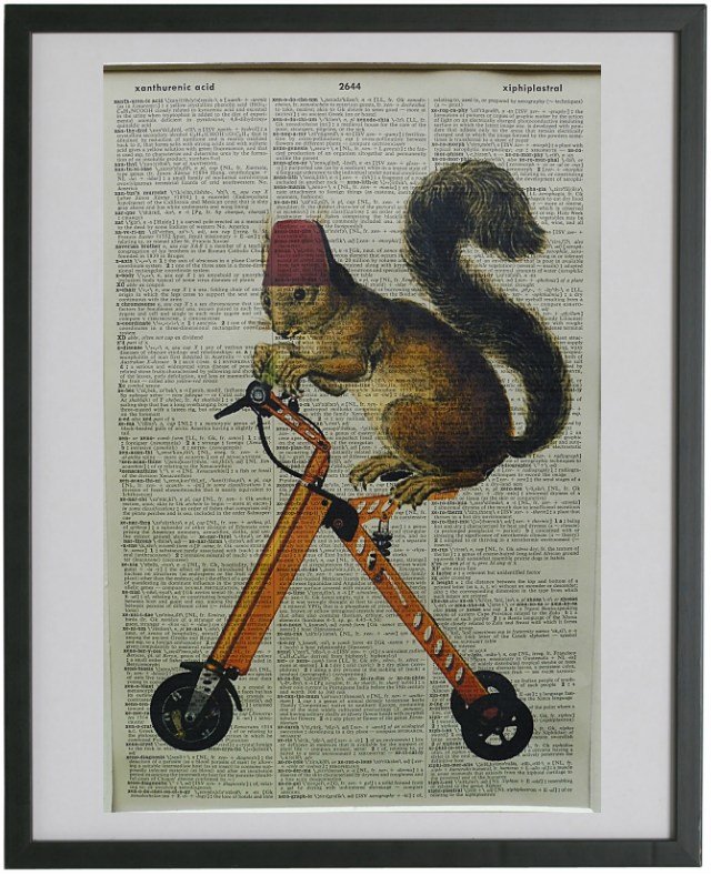 Squirrel on a Scooter Dictionary Art Print!