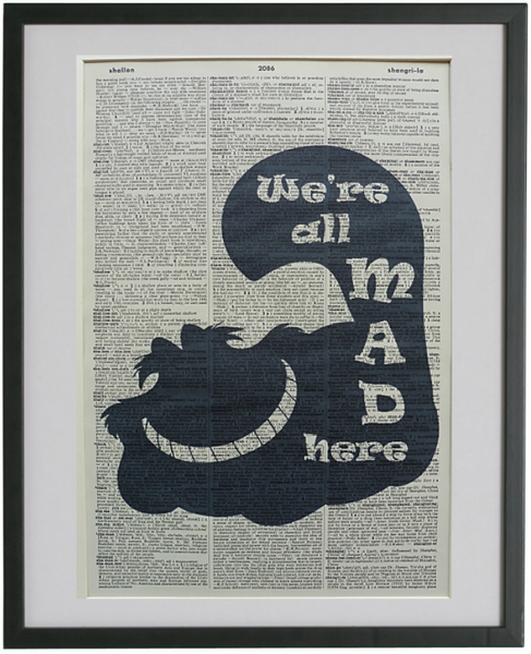 Alice in Wonderland We're All Mad Here Quote Wall Print No.585
