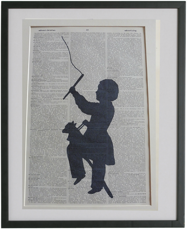 Boy With Hobby Horse Silhouette Print No.936, miscellaneous