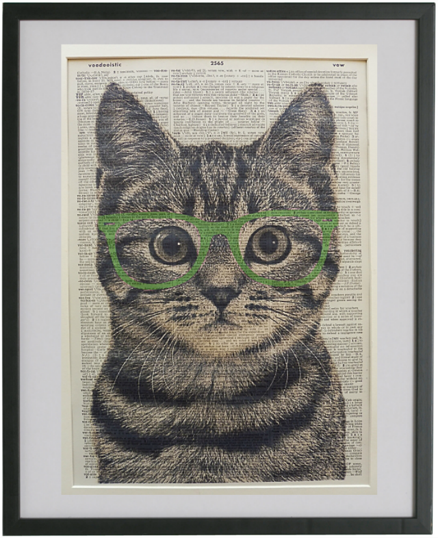 Tabby Cat Wearing Green Glasses Wall Print No.196