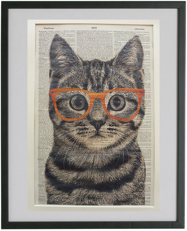Tabby Cat Wearing Orange Glasses Wall Print No.197