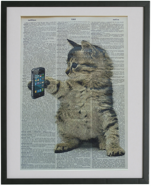 Cat With Mobile Phone Wall Art No.360