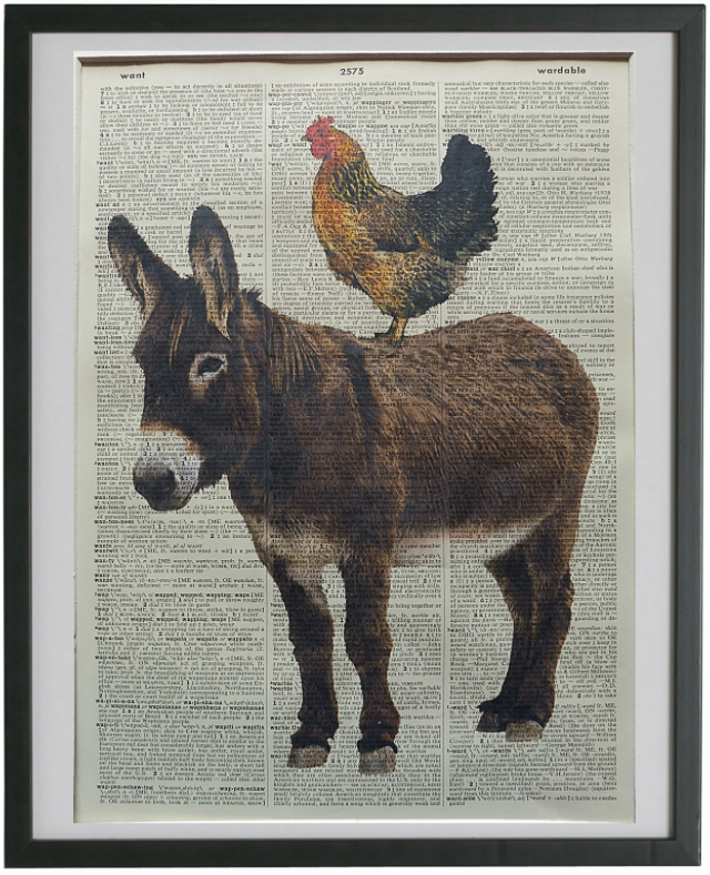 Donkey and Chicken Print No.230, animal print