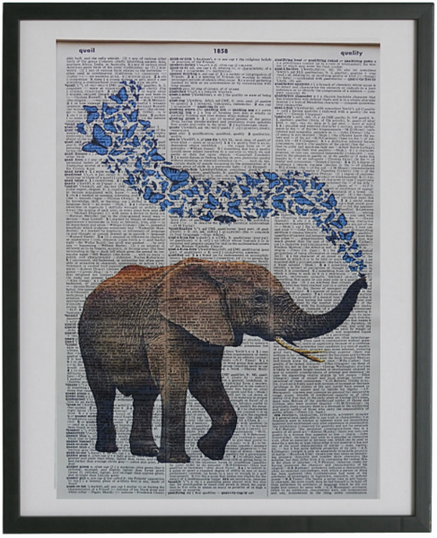 Elephant Blowing Butterflies Print No.314, animals