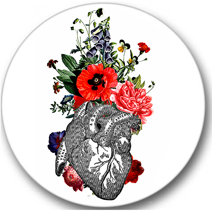 Heart and Flowers Anatomy Sticker Seals No.237