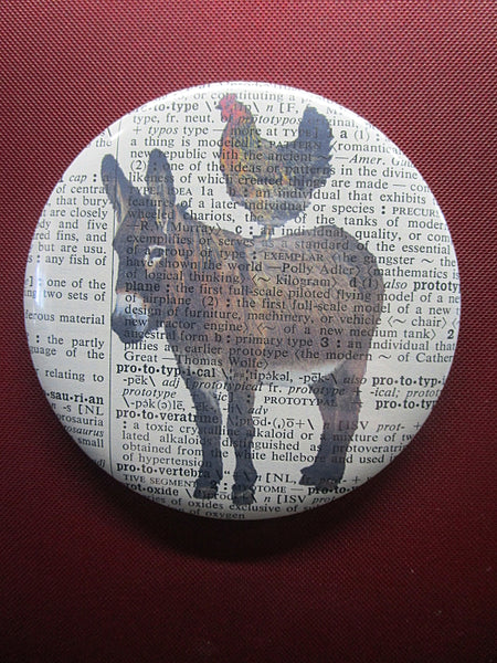 Donkey and Chicken Button Badge No.230, animals