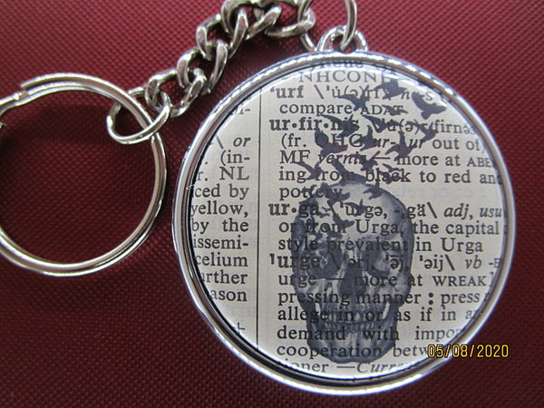 Skull and Black Birds Keyring No.311, gothic