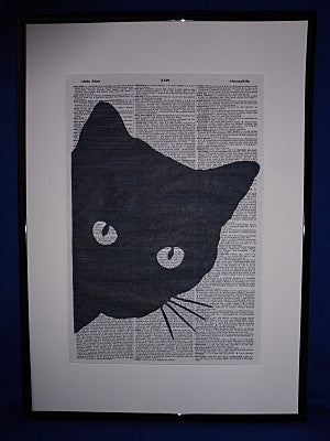 Black Cat Peeking 1 Print No.69