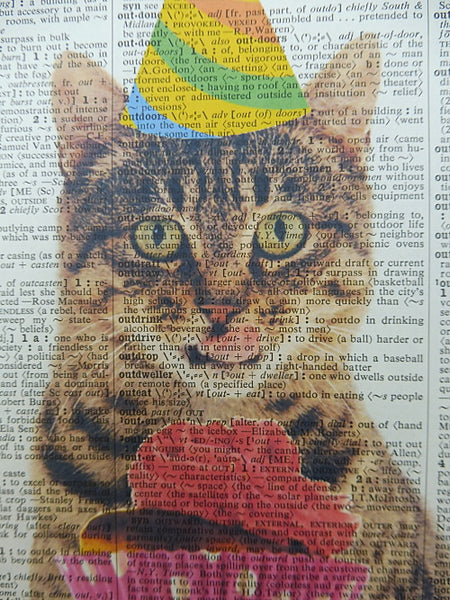 Tabby Cat With Party Cupcakes Wall Print No.21