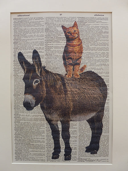 Donkey and Ginger Cat Print No.221, animal print