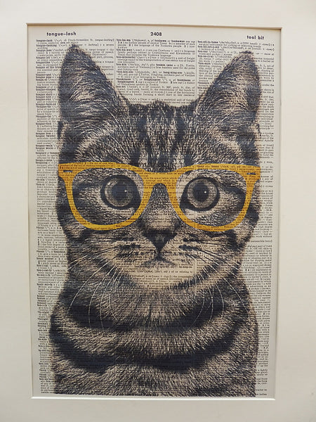 Tabby Cat Wearing Yellow Glasses Wall Print No.210