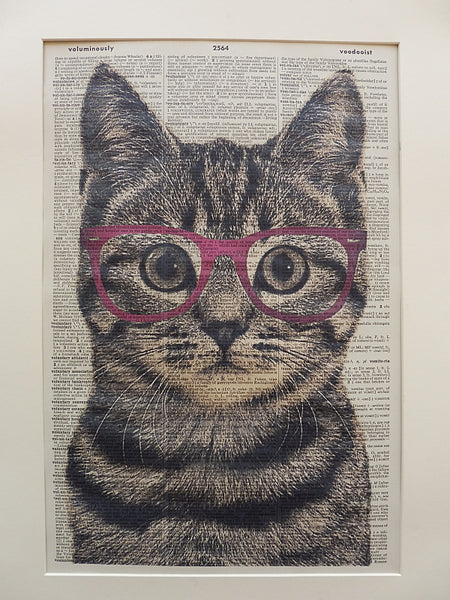 Tabby Cat Wearing Purple Glasses Wall Print No.208