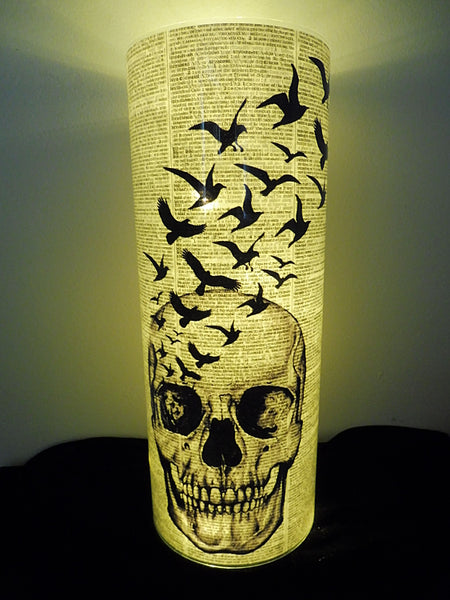Skull and Black Birds Paper Lantern No.311, gothic