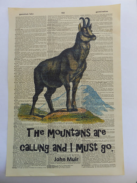 Mountain Goat Print No.742, inspirational quote prints, animals
