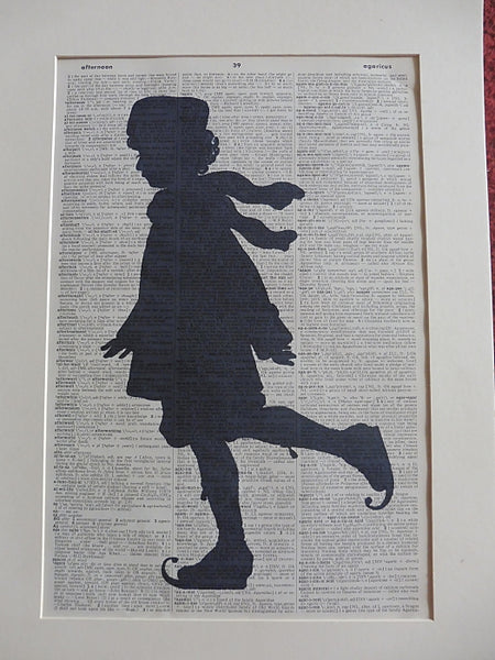 Girl Ice Skating Silhouette Print No.937