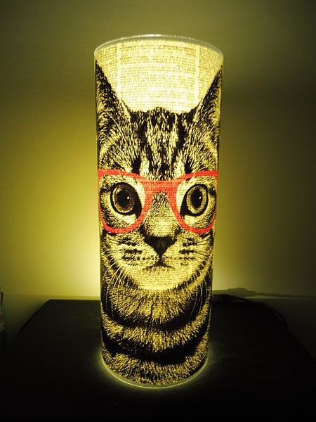 Tabby Cat Wearing Red Glasses Paper Lantern No.209